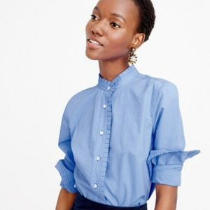 J.Crew Ruffle Button Up Blouse
